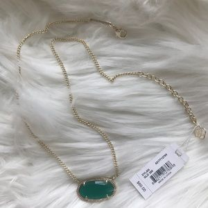 NWT Kendra Scott Dylan Necklace Gold and Green